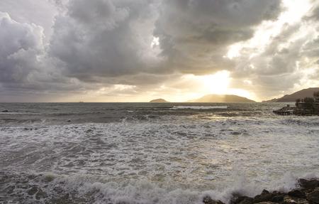 spezia: storm in lerici a very beautiful plave near la spezia