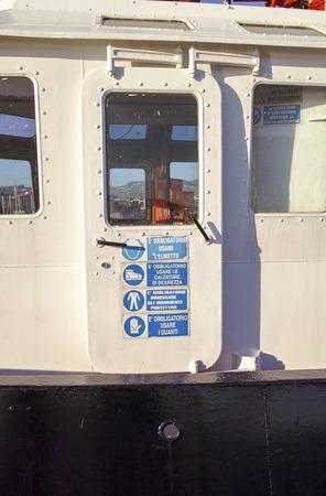 propulsion: cockpit of a tug boat in the harbour of la spezia