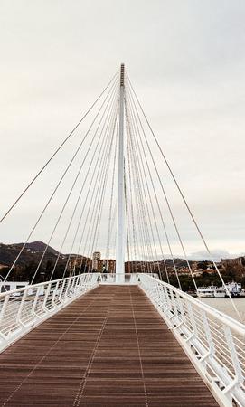spezia: detail of suspension bridge in the town of la spezia
