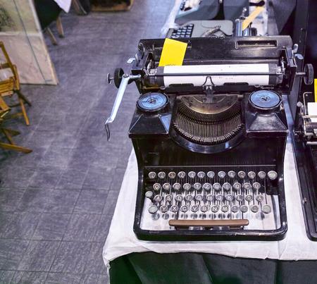 desaturated: Old black typewriter Stock Photo