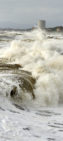 splash of water: Wave of sea at Massa, Tuscany Stock Photo