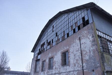 deatil: deatil of old industrial building in italy