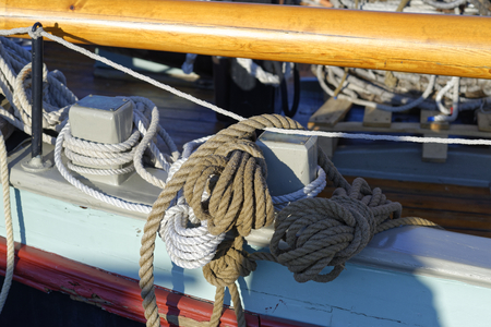 convoluted: detail of marine rope on  a old sailing vessel
