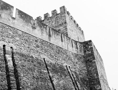 jorge: detail of medieval san jorge castle in lisbon