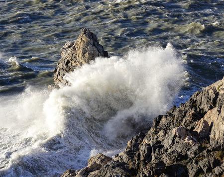 spezia: detail of a big storm in portovenere , la spezia