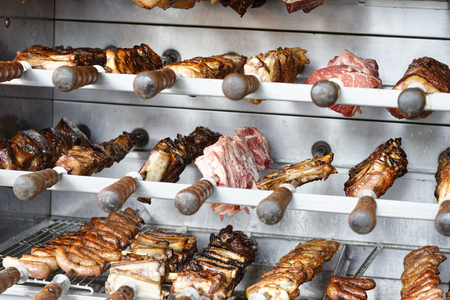 detail of brasilian barbeque in a market