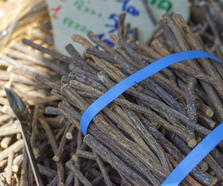retrieval: detail of pure licorice blocks at market