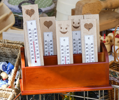 detail of plenty Thermometers at market