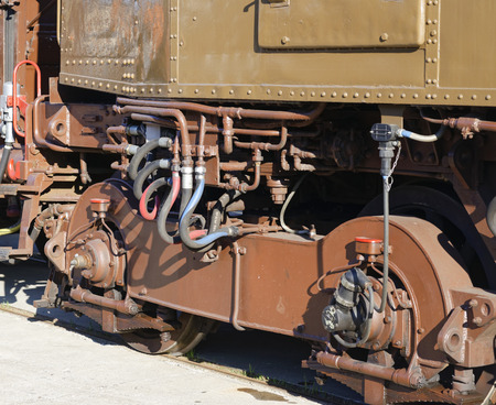 detail of a train in a station in italy Stock Photo