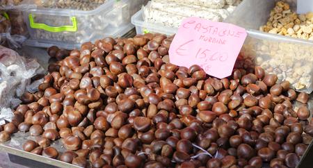 chestnut at market in la spezia in italy Stock Photo