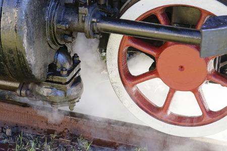 steam locomotive wheels close up in la speiza Stock Photo