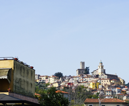 view of Arcola a medieval village near la spezia