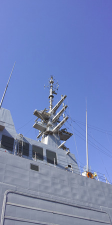 battleship: detail of military ship in a port Stock Photo
