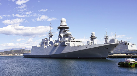 battleship: military ship in a harbour in italy