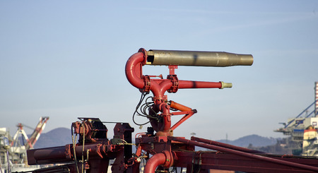 fire hoses: fire hoses on a tug in italy Stock Photo