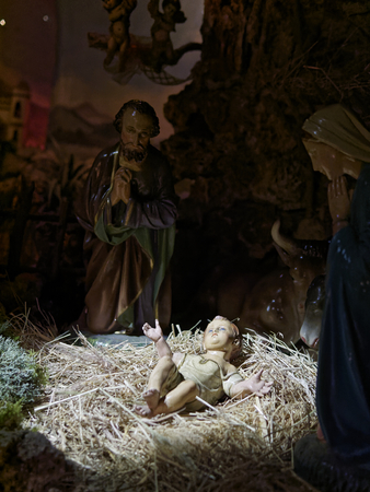 statuettes: Christmas nativity scene represented with statuettes of Mary, Joseph and baby Jesus in Italy
