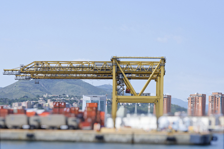 detail of cranes in the harbour of genova Stock Photo