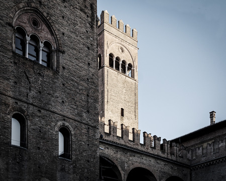 detail of king enzo palace in bologna