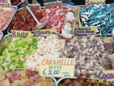 plenty candy at market in the town of la spezia