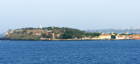 detail of goree island in front the harbour of dakar