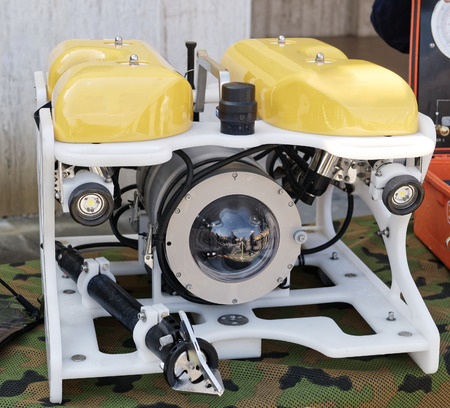 detail of Modern remotely operated underwater vehicle , ROV Stock Photo