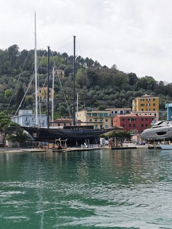 very nice view of a old sailing yacht in a shipyard in italy
