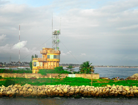 the entrance of abidjan harbour in summer time Standard-Bild