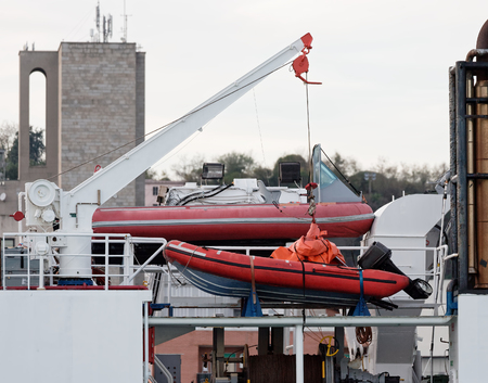 detail of fast rescue boat in a harbour