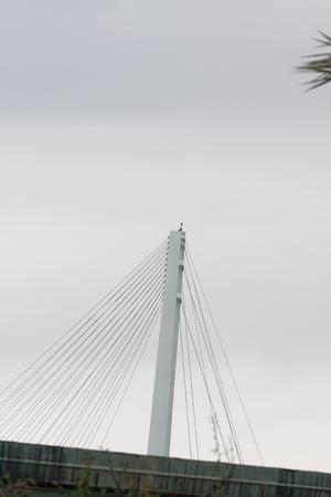 detail of suspension bridge in the town of la spezia
