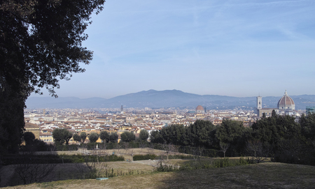 aerial view of florence take from boboli gardens Stock Photo