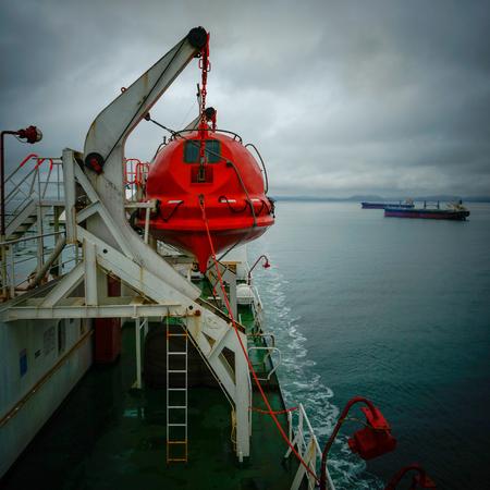 lifeboat of big roro vessel during navigation