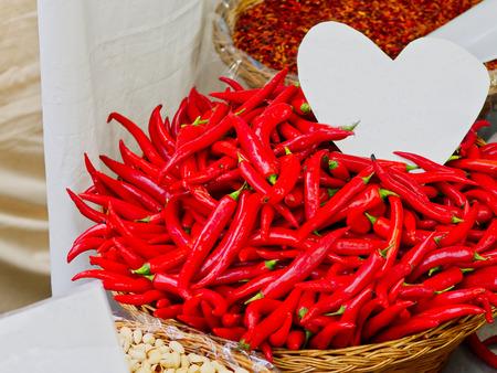 detail of pepper at market