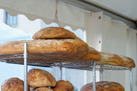 typical italian bread at market in italy 写真素材