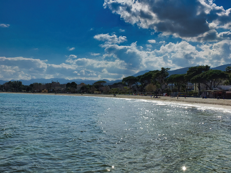 the beach of mondello in a sunny day