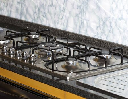 modern gas stove in my house Stock Photo