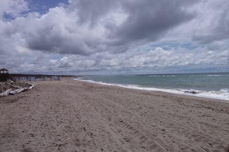 Picturesque view on Italian sandy beach Marina di Vecchiano nearby Pisa, Tuscany  Italy