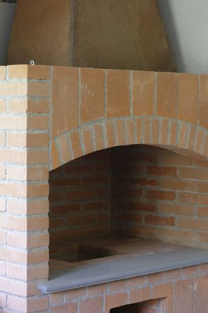 detail of fireplace in construction
