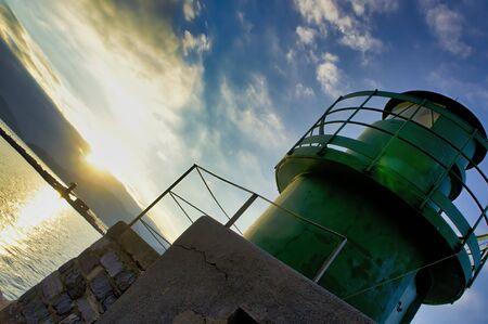 green lighthouse in the gulf of la spezia