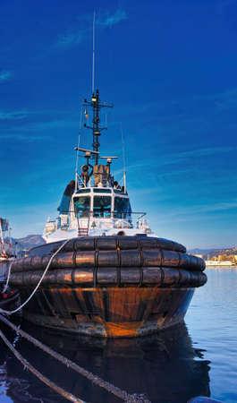 detail of tug boat in the gulf of la spezia