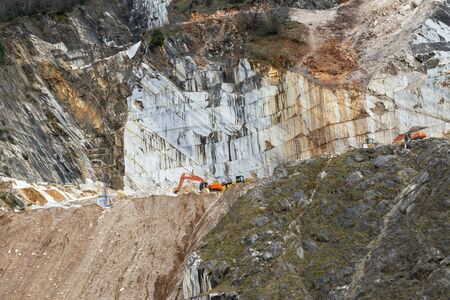 very nice view of marble quarry in carrara , itay