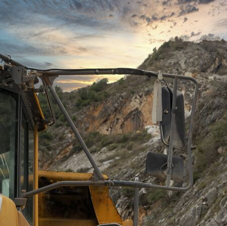 detail of big dumper inside a marble quarry in carrara ,italy