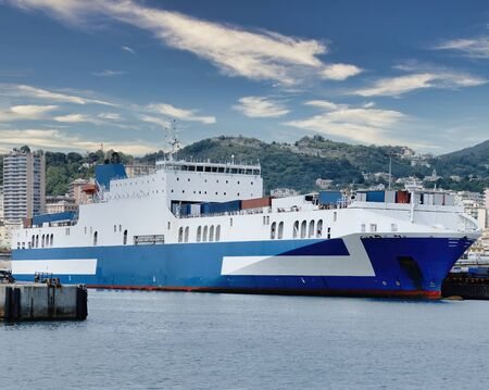 big rorro vessel in genova harbour during loading and unloading operation