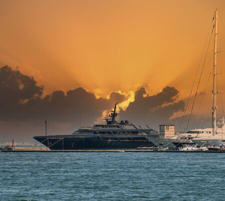 luxury yacht in a harbour in italy