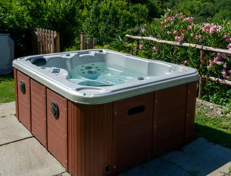 a Hydromassage in a garden in summer time Standard-Bild