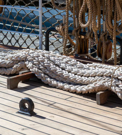 detail of a old marine rope in a harbour
