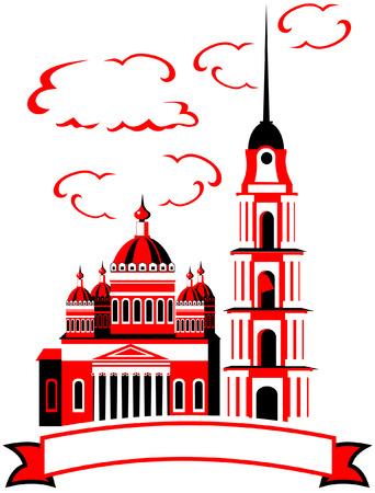 silhouette of church vector art Illustration
