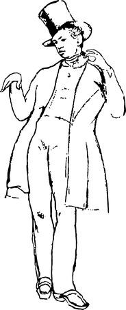 tophat: Il giovane uomo con un panino Vettoriali