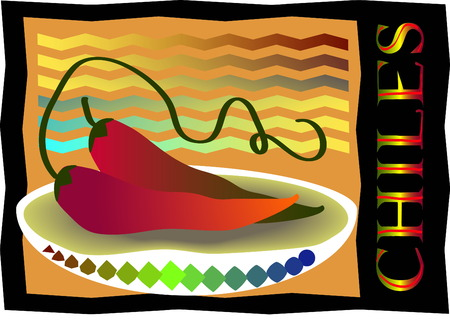 Two red hot jalapeno peppers over white Illustration