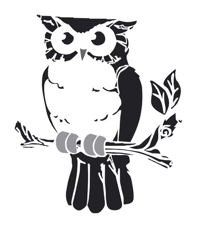 Vector retro owl on swirly vine Illustration