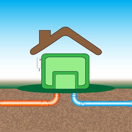 heating engineers: Underground communications Illustration